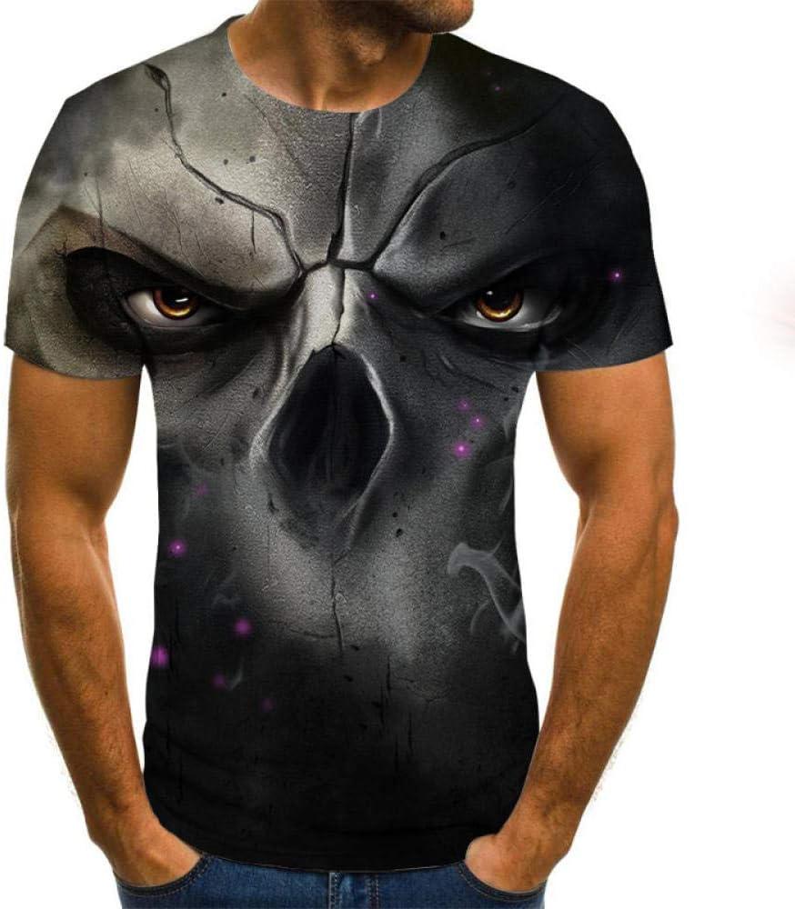 yyqx container Hombre 3D Graphic Print Camisetas Camiseta de Cara Binocular de Hueso Nasal Camiseta 3DT Masculina de Manga Corta Cuello Redondo impresión Digital Casual de Manga Corta
