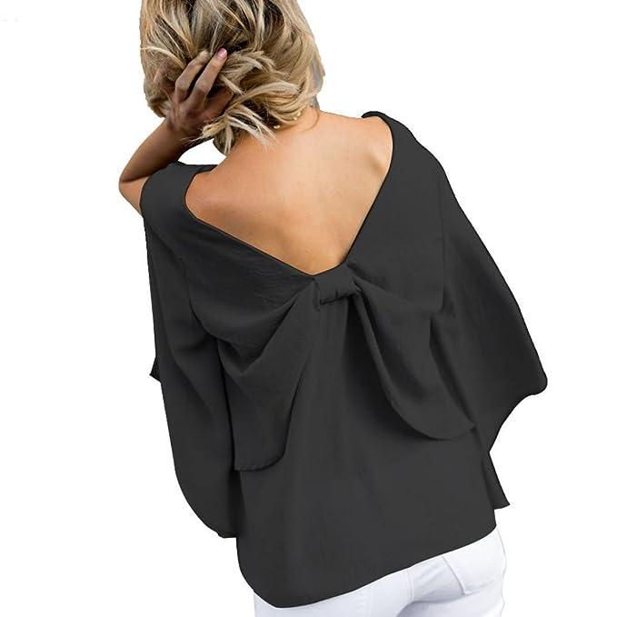 Amazon.com: iopqo 2018 Lady de cuello en V bowkott blusa de ...
