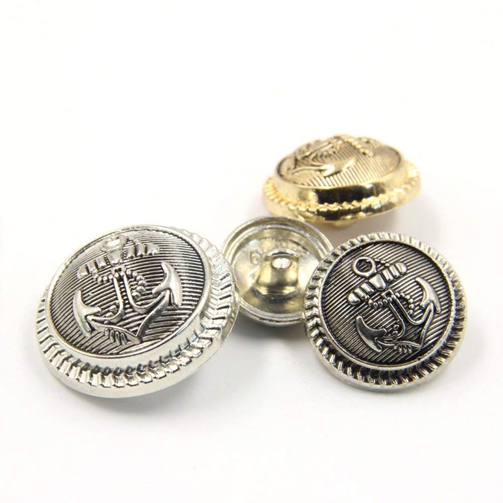 Estilo Vintage Nubstoer Pack de 10 Botones de Ancla de Metal Estilo Antiguo