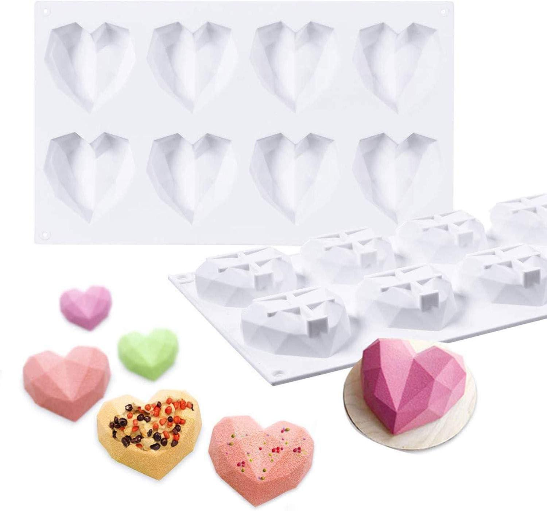 Silicone Mold 8 Cavity 3D Diamond Heart Bakeware Mold Ice Cream Fondant Chocolate Soap Cake Dessert DIY Tools
