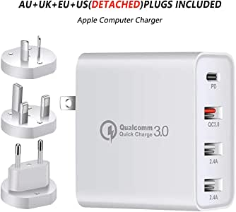 USB C Charger, CRISTION 48W Charging Station, 4-Port USB Wall Charger PD3.0 QC3.0 2.4A*2 with USA/EU/UK/AU Adapter Charging for MacBook Pro iPhone X/Xs/XR/New iPad Pro Galaxy Note10 S20 S10 and More