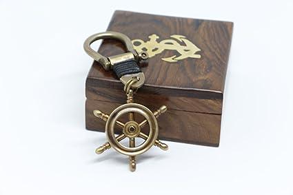 llavero timon caja madera nautica marinero capitan barco ...