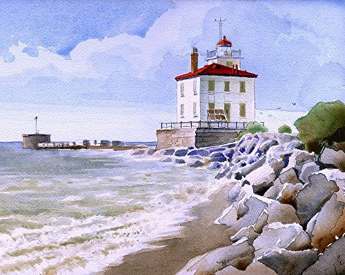 Fairport Harbor Lighthouse (Fairport Harbor Breakwater West Lighthouse Lake Erie Ohio Watercolor Art Prints (8x10))