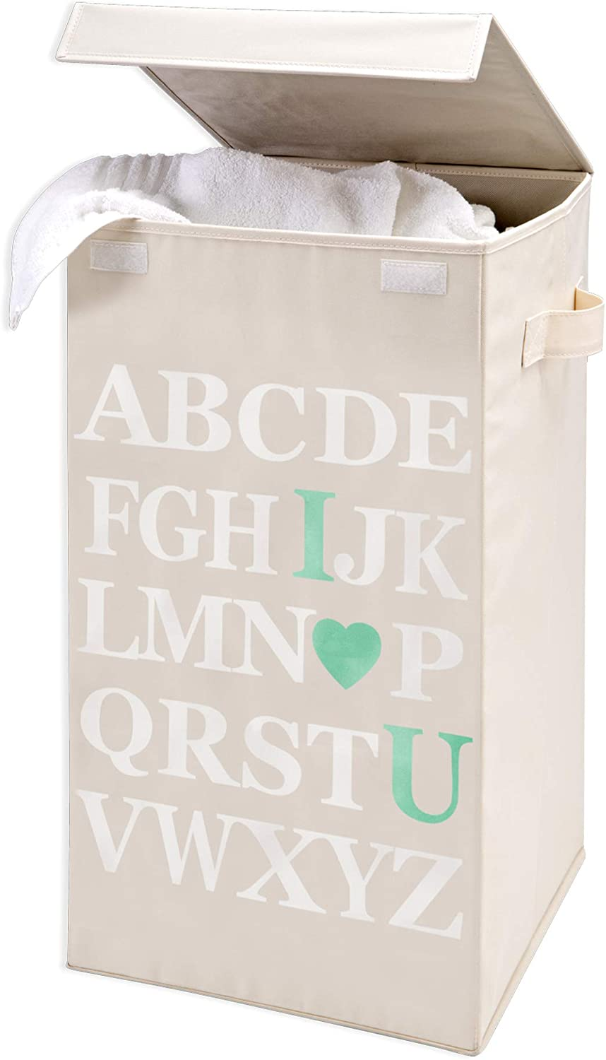 Smart Design Foldable Laundry Hamper w/Lid & Logo Design - Durable Canvas Design - for Clothes & Laundry - Home Organization (13.8 x 25.2 Inch) [I Love You Print]