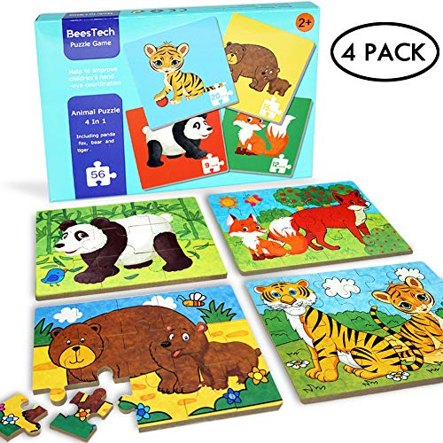 BEESTECH Elementary Wooden Jigsaw Puzzles for Toddlers 2、3、4 Years Old, Toddler Animal Puzzles 4 Pack with Panda, Bear, Fox, Tiger, Early Educational Learning Puzzles for Kids, Boys and Girls
