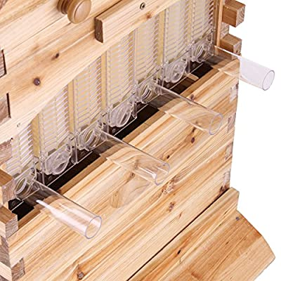 BestEquip Beehive Auto Flow Wooden 20x16x10 Inch Honey Beehive 7 Pcs Frames Honey Beehive Kits by BestEquip