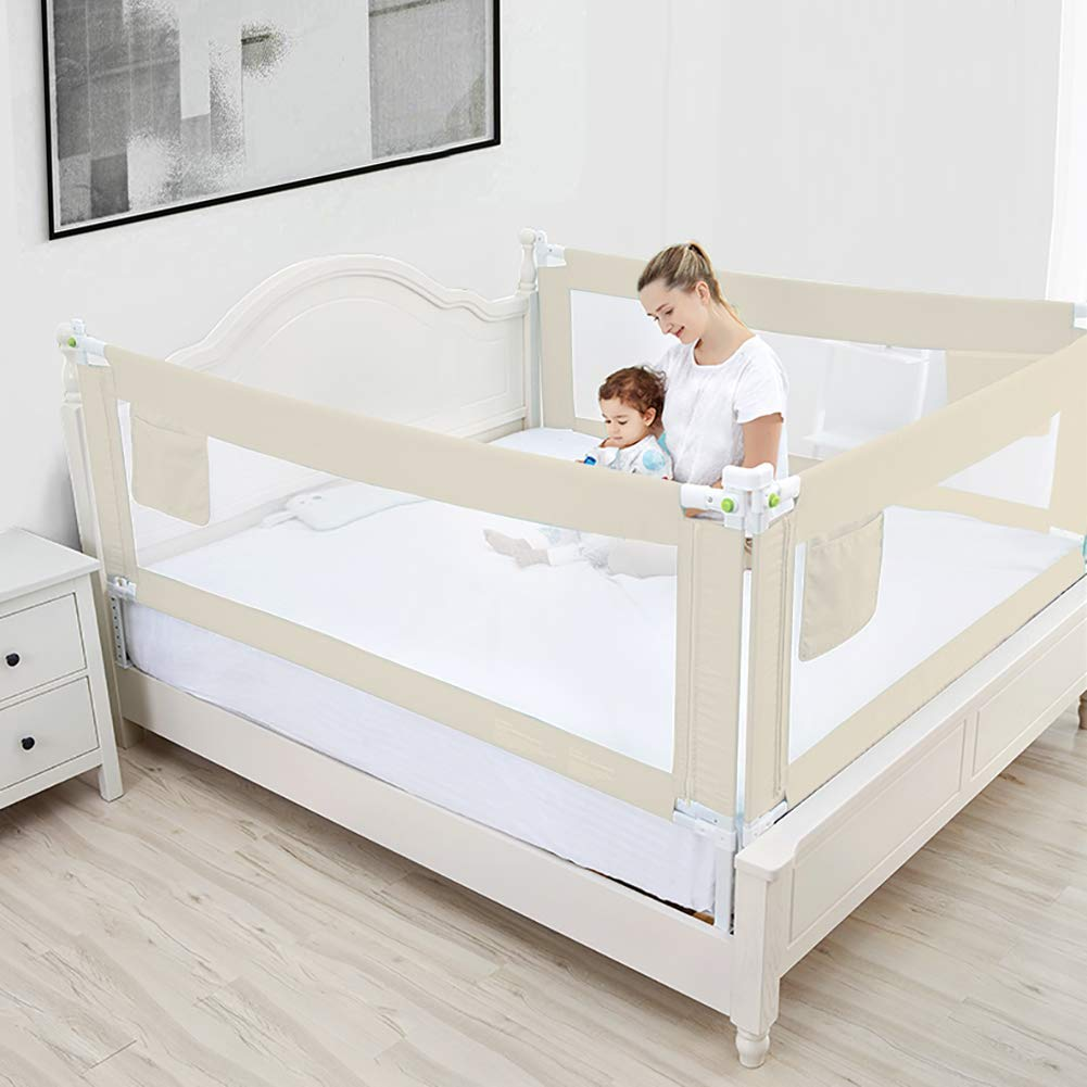 Greensen Baby Bed Rails Child Bed Rails Child Bed Fall Protection Vertical Children Bed Protection Rails Portable Baby Bed Rails Adjustable Anti-Fall Bed Guardrail 200cm Beige