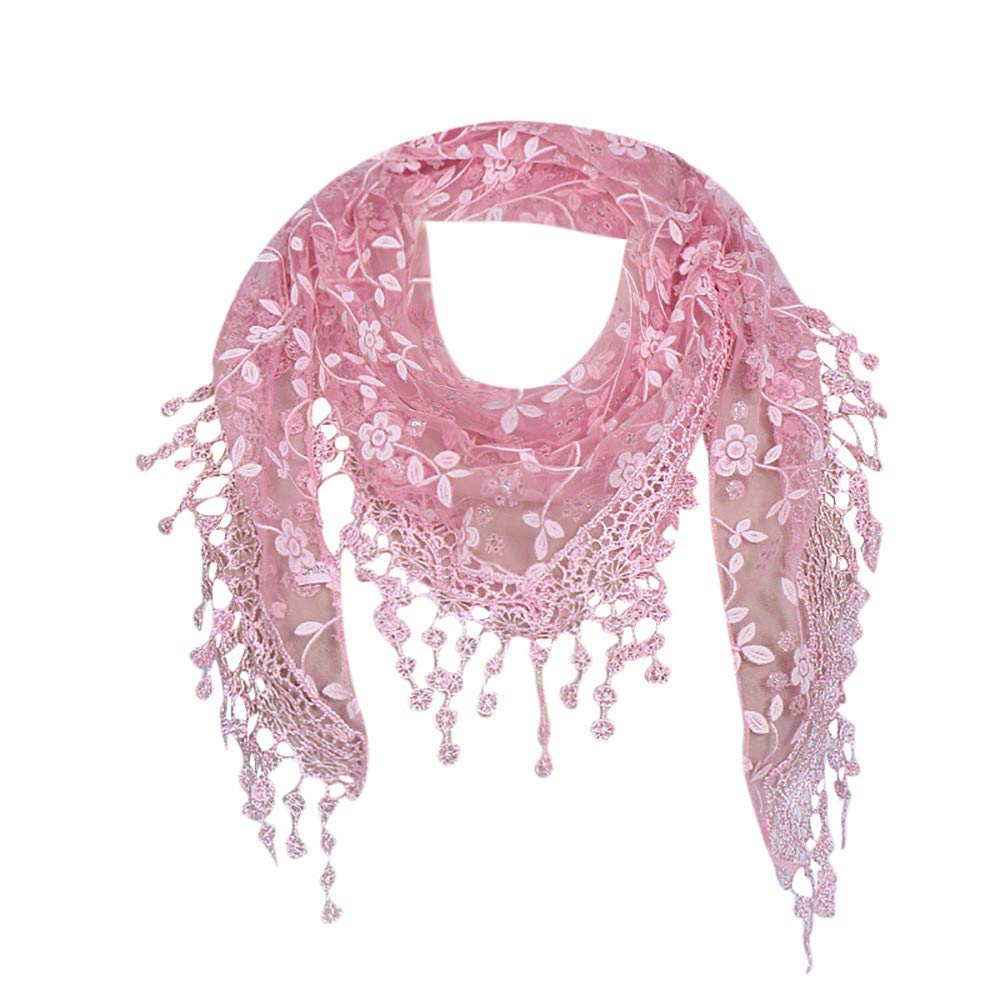 ❤️ Maonet Clearance Lace Tassel Sheer Burnt-out Floral Print Triangle Mantilla Scarf Shawl Neck Wrap (Pink)