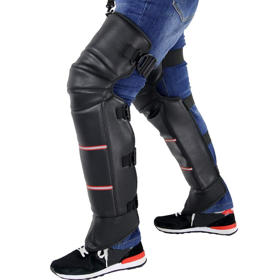 RESTBUY Ginocchio invernale termico in pelle da moto Pad antiscivolo Warm Leg Protector PU in pelle nera Ginocchio in pelliccia artificiale