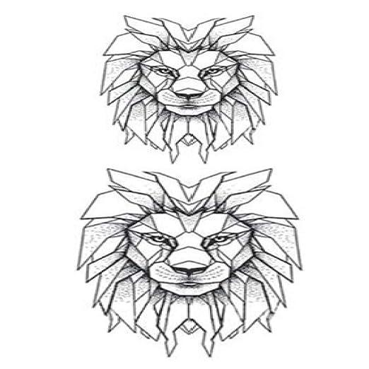 Handaxian 3 unidsLion Tatuaje Pegatina Impermeable Animal Dibujos ...