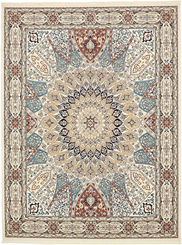 Unique Loom Narenj Collection Classic Traditional Medallion Textured Ivory Area Rug (10