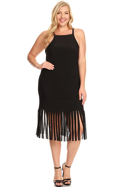 La Vie Design Plus Size Long Fringe Dress at Amazon Women\'s Clothing ...