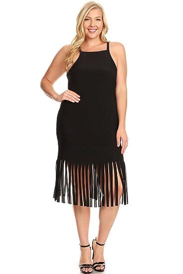 La Vie Design Plus Size Long Fringe Dress