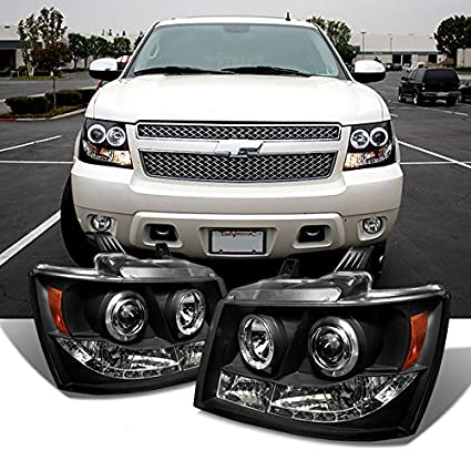 BLK 2007 - 2014 Chevy Suburban Tahoe Avalancha LED Halo Proyector ...