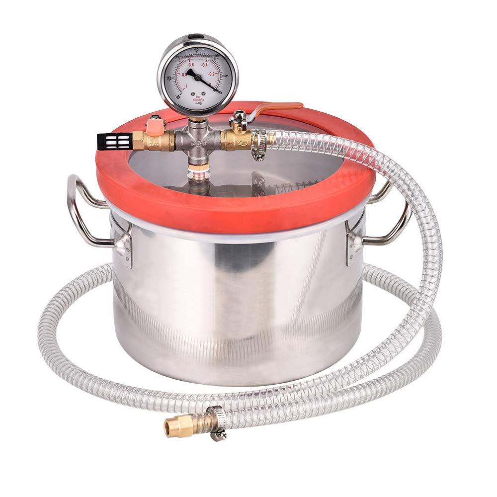 TOPQSC Kit de silicona de cámara de vacío de acero inoxidable de 1,5 galones para desgasificar resinas, silicona y epoxis