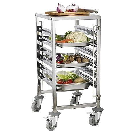 iMettos - Carrito de 6 estantes con mesa de trabajo para GN Pan 1/1