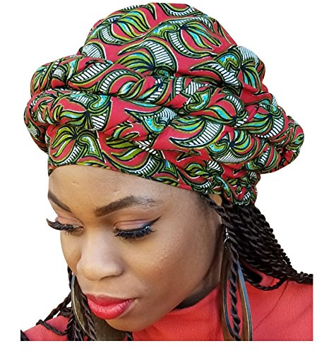 Red, Olive Green African Print Ankara Modu Hat Pre-tied Head wrap by Dupsie's