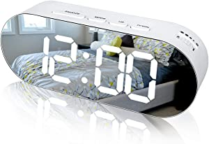 WulaWindy Alarm Clock Digital Mirror Surface Dimmer Large LED Display with Dual USB Charger Ports Snooze Sleep Timer for Bedroom Decor (White Only)