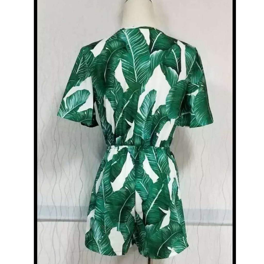 Plus Size Women Playsuit Deep V Short Sleeve Casual Printing Party Tie Waist Romper Hot New Beach Jumpsuit