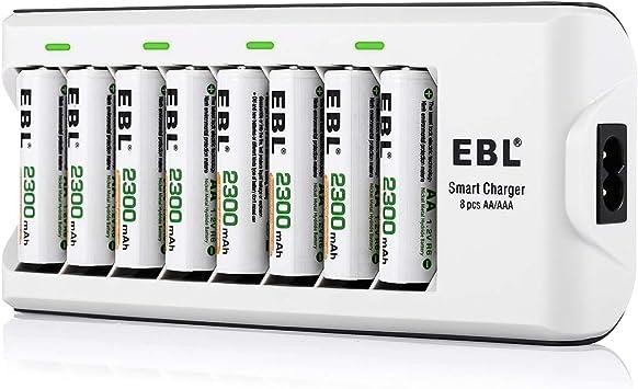 EBL 808A Chargeur de Piles 8 slots avec 8pcs AA Piles Rechargeables 2300mAh, pour AAAAA Ni MHNi CD piles rechargeables