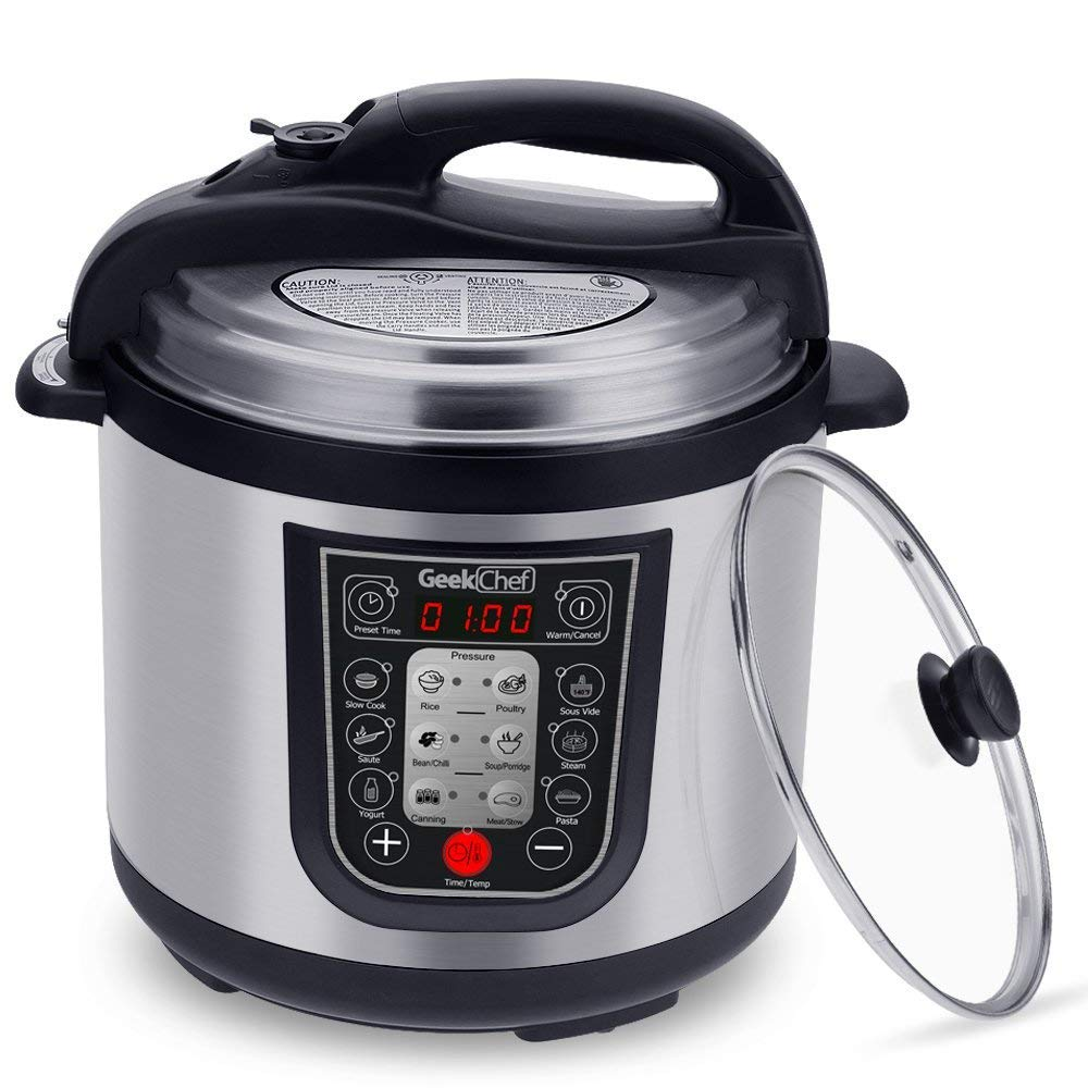 GeekChef 11-in-1 Multi-Functional Electric Pressure Cooker,slow cook,Rice cook,Stainless Steel Cooking Pot Includes Glass Lid and Stainless Steel Inner Pot 6Qt/1000W