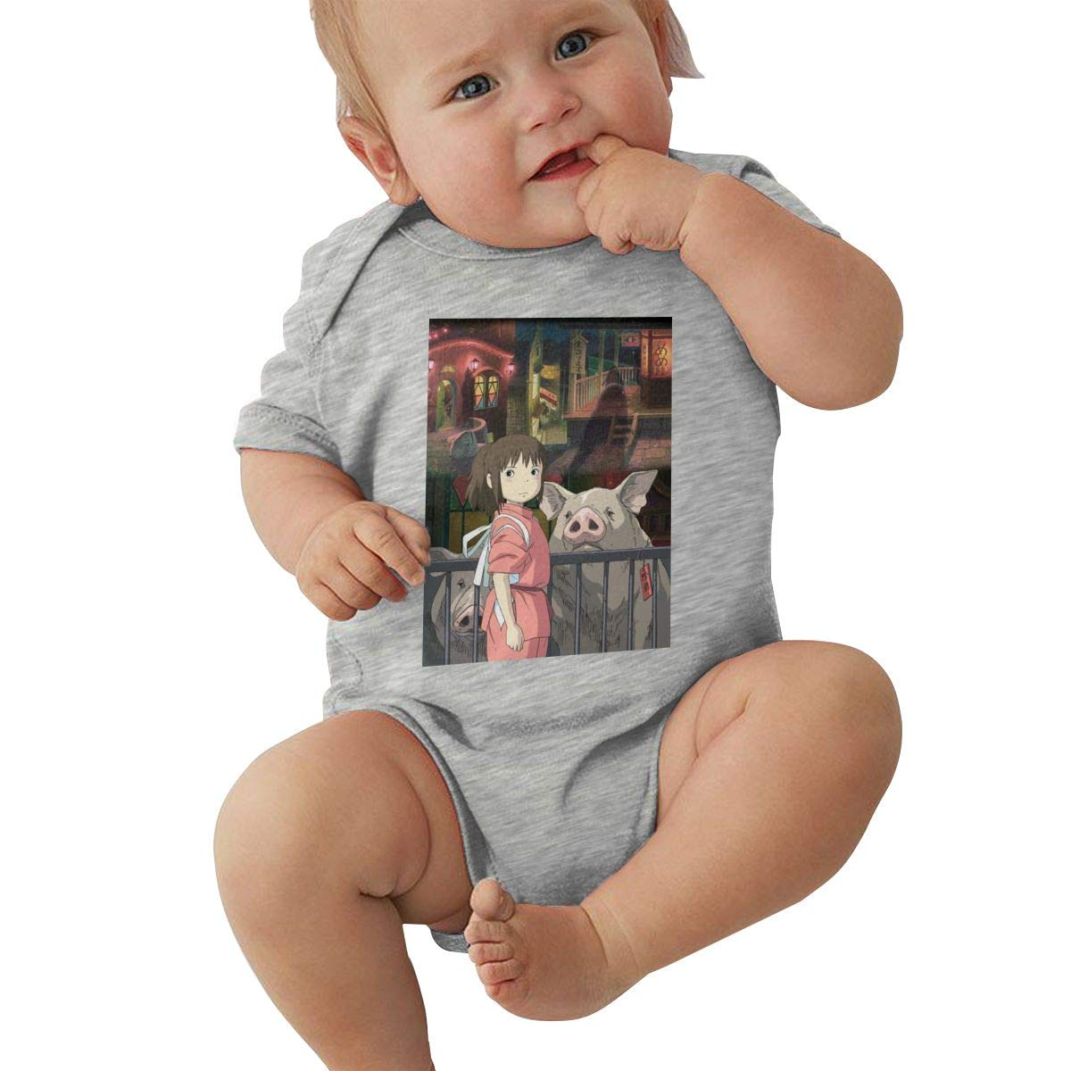 FAITH POPE Baby Boys Girls O-Neck Short Sleeve Onesie Spirited Away Funny Crawling Clothes Black