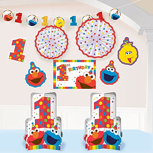 1st Birthday Elmo Room Decorating Kit 10 piece Party Supplies Elmo Sesame Street Fun to be One! (Elmo Decoration)
