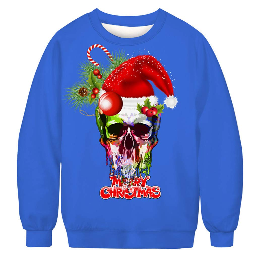 Funnygals - Mens Sweatshirt Jumper Pullover Unisex Christmas Crewneck Long Sleeve Tops Novelty Xmas 3D Print Sweatshirts by Funnygals - Clothing
