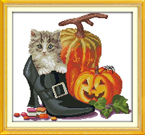 YEESAM ART New Cross Stitch Kits Advanced Patterns for Beginners Kids Adults - Halloween Cat 11 CT Stamped 48×45 cm - DIY Needlework Wedding Christmas Gifts