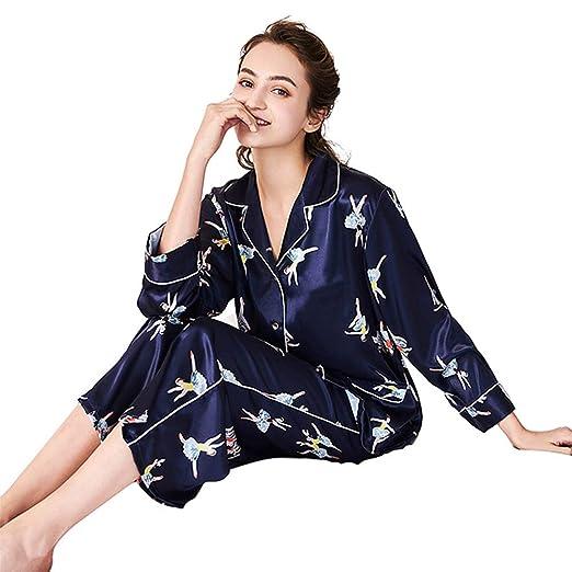 MEMIND Pijamas Ms Primavera Pantalones de Manga Larga Azul Ocio ...