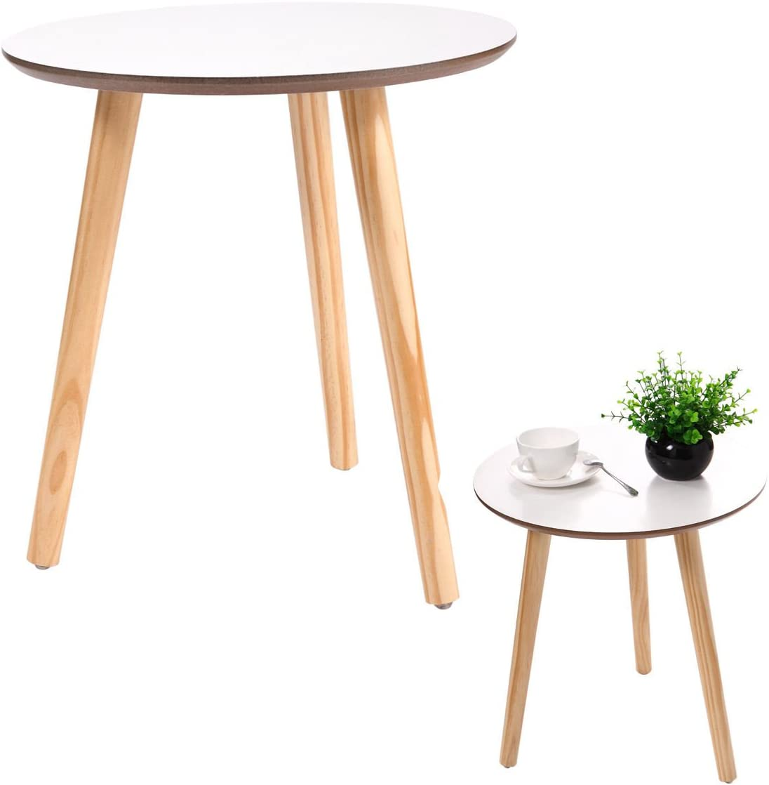 New White Modern Round Coffee Table Simple Style End Table W Pine Wood Legs