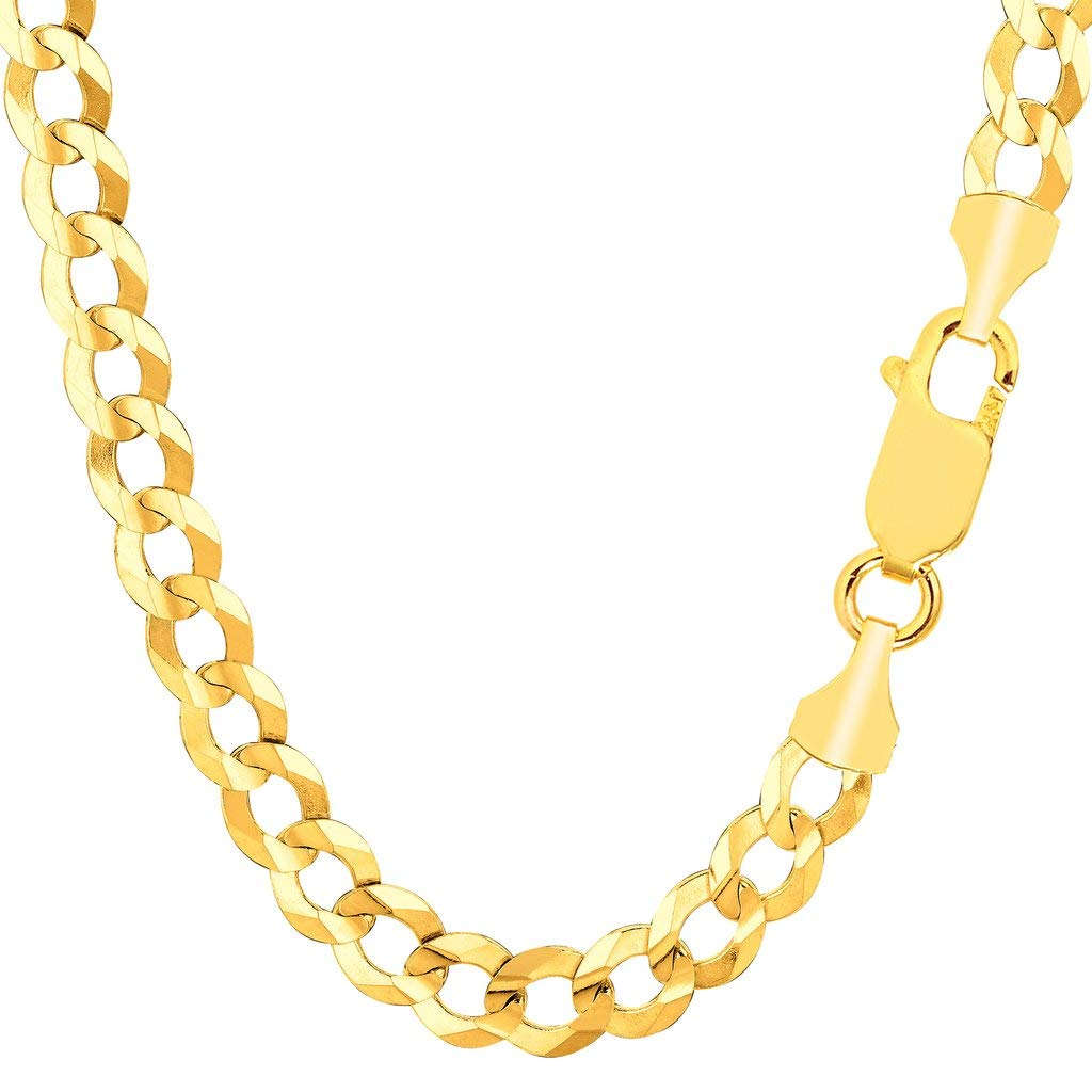 TheDiamondDeal Mens Solid 14K Yellow Gold 7.00mm Shiny Cuban Comfort Curb Cuban Chain Necklace For men for Pendants Or Bracelet with Lobster-Claw Clasp (8.5'', 20'', 22'', 24'', or 26 inch)