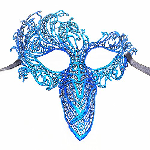 [Mysterious Angel Halloween Makeup Party Party Sexy Lace Mask (Hollow blue 1)] (Angel Costume Makeup)