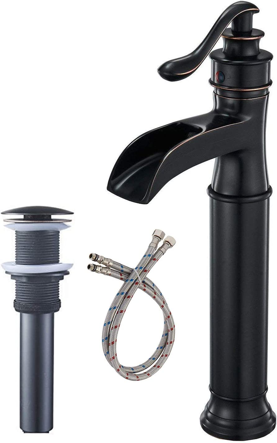 Bwe Vessel Sink Faucet Oil Rubbed Bronze Farmhouse Waterfall Spout Tall Body Single Hole With Brass Pop Up Drain Assembly Without Overflow Antique Bathroom Rustic Lavatory Vanity Faucets Commercial Amazon Com