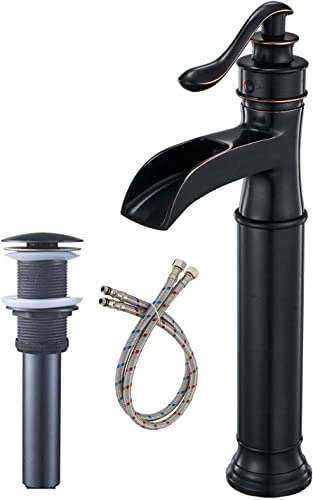 BWE Waterfall Spout Oil Rubbed Bronze Single Handle One Hole Bathroom Sink Vessel Faucet ORB Lavatory Faucets Deck Mount Tall Body Commercial