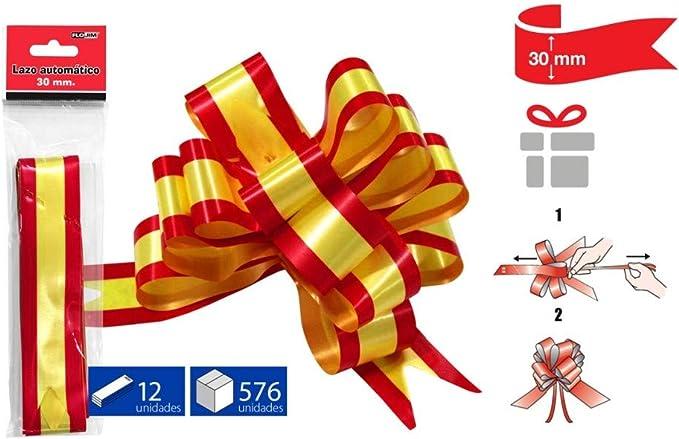 FLOJIM 6 Lazos Automáticos con la Bandera españa para Decoracion, Regalos, Navidad, Decoración, Bodas. Floristerias - 30 Mm: Amazon.es: Hogar