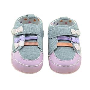 Sagton Baby Toddler Stitching Bowknot Anti-Slip Soft Crib Shoes (US:4)