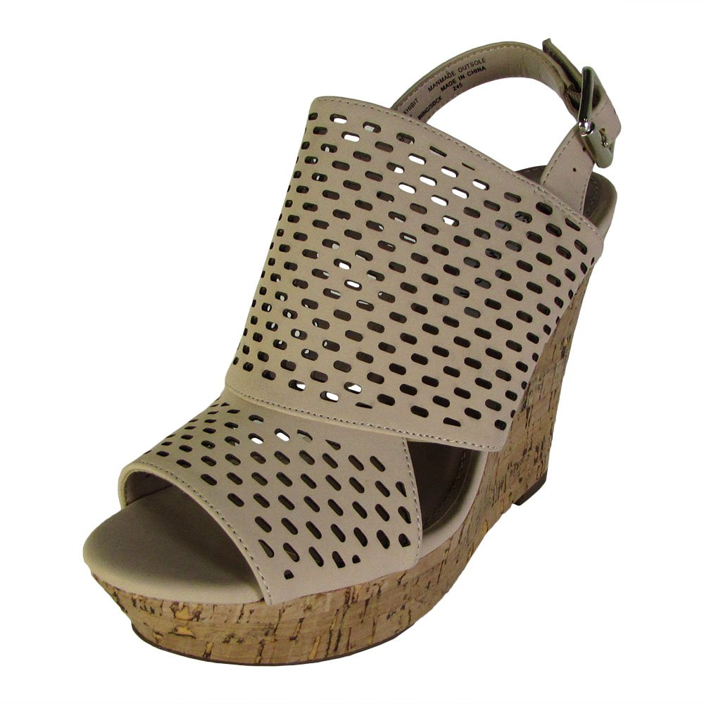 Steve Madden Womens Exhibit Slingback Platform Wedge Shoes B01MSWYWX0 7.5 B(M) US|Natural