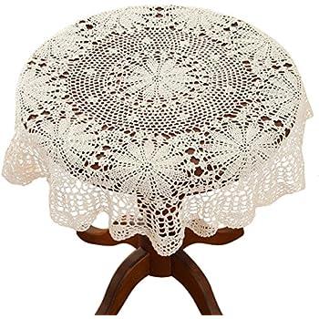 """Vintage Shabby Chic Cream Cotton Batten Lace Table Linen Doily Coaster Mat 6.25"""""""
