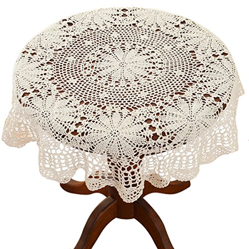 (gracebuy 39 Inch Beige Round 100% Handmade Crochet Lace Tablecloth Doilies )