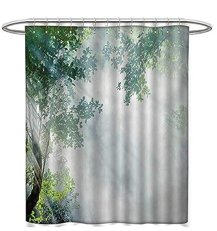 Rainforest Shower Curtain Customized Sunbeam Between Shadows Trees Idyllic Scenery Solitude In Jungle Theme Fabric Bathroom