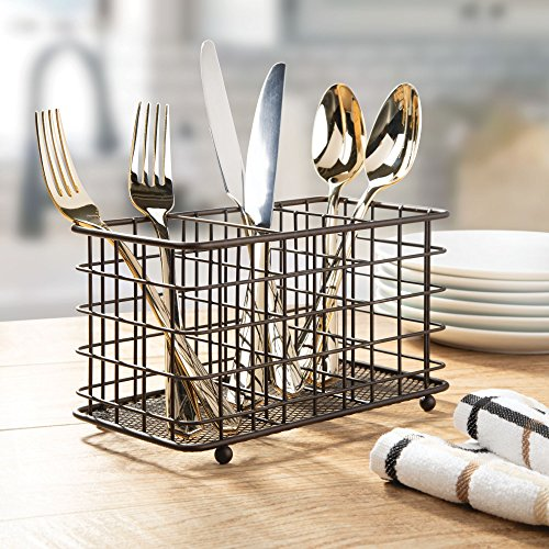 mDesign Farmhouse Modern Metal Wire Cutlery and Utensil Storage Organizer Bin for Kitchen, Pantry, Table and Countertop - Utensil Caddy Holds Forks, Knives, Spoons, Napkins - 3 Sections - Bronze