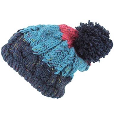 653de4d9477 Loud Hats CHUNKY CABLE KNIT BOBBLE HAT BLUE PINK STRIPE with BIG POM POM   Amazon.co.uk  Clothing