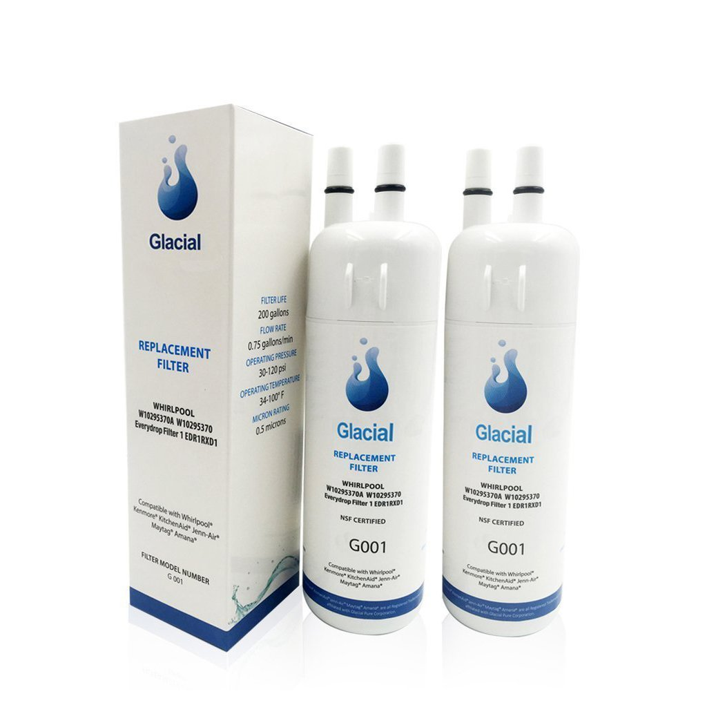 Compatible Water Filter by Glacial Pure WI0295370A, WI0295370 EDRIRXDI Pur Filter I EDRIRXDI P4RFWB Kenmore 46-9930,46-9081 (2 pack)