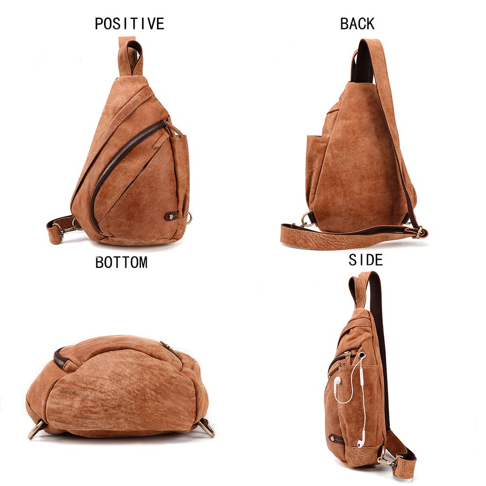 JOYIR Genuine Leather Crossbody Bag Mens Sling Bag Vintage Messenger Bag Phone Chest Bag Casual Bag Travel Hiking Daypacks