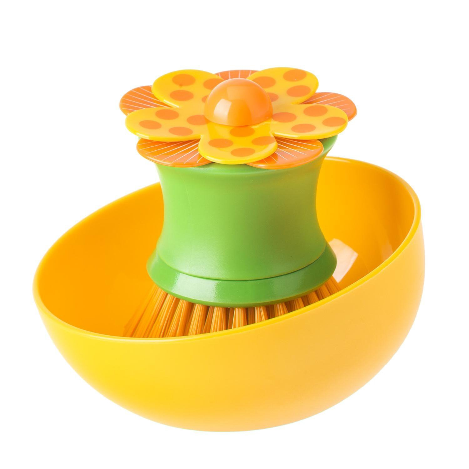 Vigar Lolaflor Orange Palm Dish Brush With Holder, 4-1/4-Inches by 4-1/4-Inches, Orange, Green