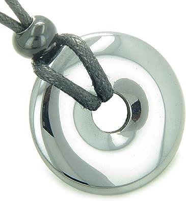 Hematite Donut Pendant Necklace