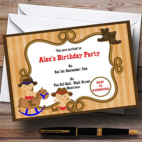 Western Cowboy Theme Personalized Birthday Party Invitations
