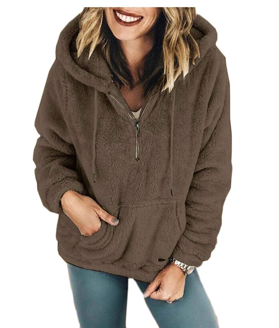Lutratocro Women Hooded Thickened Pullover Top Warm Slim Sweatshirts