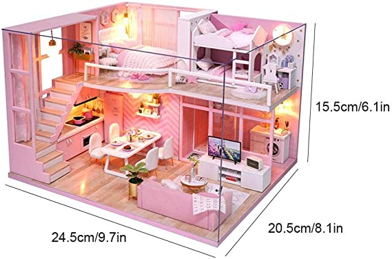 Doll House Miniature Diy Dollhouse with Furnitures Wooden House Waiting Ti Q7S8